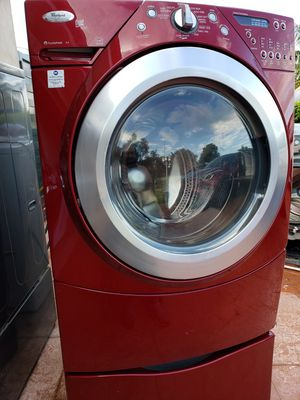 WHIRLPOOL DUET RED STEAM WASHER AND STEAM DRYER SUPERCAPACITY WITH PEDESTALS for Sale in Hialeah, FL