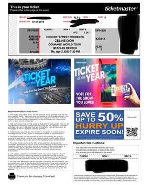 One Floor Ticket to Celine Dion World Courage Tour Thur 4/2 Staples Center for Sale in Beverly Hills, CA