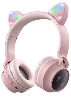 Kitty Bluetooth Over Ear Headphones 85dB Volume Limiting,LED Lights, FM Radio, TF Card, Aux, Mic for iPhone/iPad/Kindle/Laptop/PC/TV (Pink) for Sale in Corona,  CA