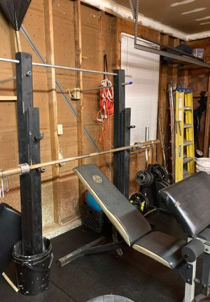 Home gym setup...bench, bar, weight tree and home made bench and squat rack for Sale in North Wales, PA