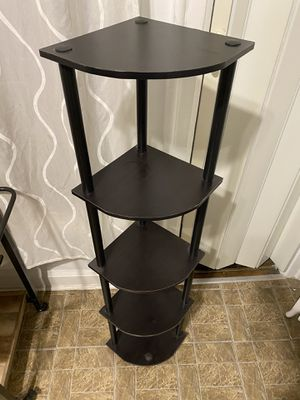 Corner Storage Shelf / Bookshelf / Accent Decorative Shelf, 5-Tier, Round Tubes, Espresso/Black for Sale in Chicago, IL
