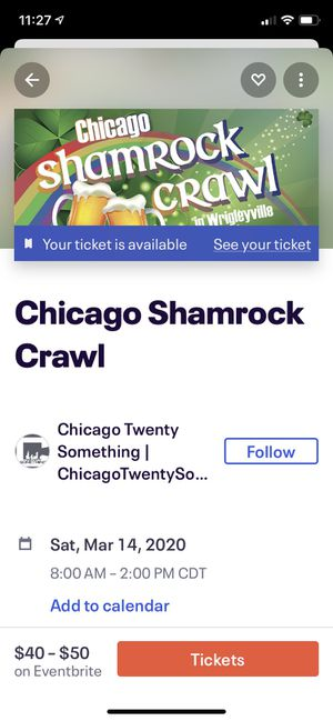 Chicago Wrigleyville Shamrock Crawl Ticket for Sale in Chicago, IL