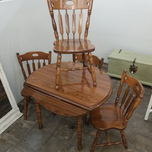Vintage 5-piece Farmhouse Drop-Leaf Dining Room Set (table w/ 4 chairs) for Sale in Phoenix, AZ