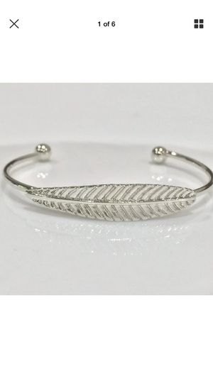 Sterling silver plated open cuff bangle bracelet leaf for Sale in Spencerville, MD