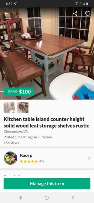 Kitchen table island counter height solid wood leaf storage shelves rustic for Sale in Chesapeake, VA