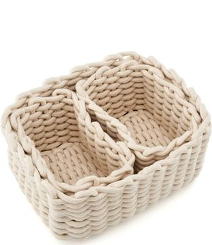 EZOWare Multi-Size Set of 3 Natural Cotton Rope Baskets, Woven Storage Organizer for Home Decor, Closet, Toys - Ivory White for Sale in Las Vegas, NV