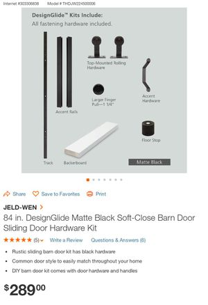 "New Steves and Sons 84"" Matte Black Sliding Barn Door Hardware Kit for Sale in Hilliard, OH"