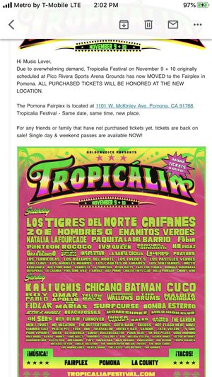 Tropicalia (2) Sunday tickets only for Sale in Paramount, CA