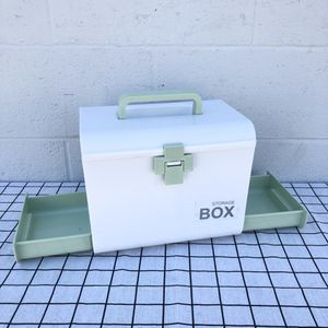 Green Mint Medicine Storage Container Bin With Drawers Divider Plastic Box For First Aid Kit Household for Sale in South El Monte, CA