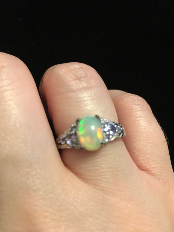 Opal and Tanzanite silver ring size 8