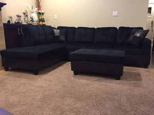 Brand new black microfiber sectional couch for Sale in Portland, OR
