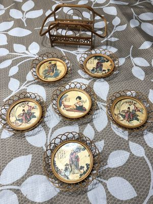 Vintage Japanese Wooden Coasters - Wicker Coaster set of 6 for Sale in Miami, FL