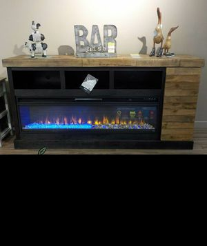 💲39 Down Payment 🍃 Tonnari Two-tone Brown XL TV Stand with Wide Fireplace Insert | W715-68 229 for Sale in Jessup, MD