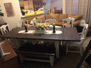 Farmhouse dining table dinner table kitchen table dinning seats 6 six or 8 eight chairs plank wood white for Sale in Glendale, AZ