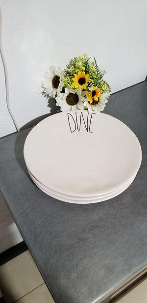 Rae Dunn DINE dinner plates / farmhouse decor kitchen home for Sale in East Compton, CA