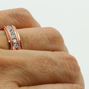 1789RG MENS 14K ROSE GOLD DIAMOND WEDDING BAND RING 6mm 9.6GRAMS for Sale in San Diego, CA