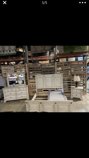 Brand New! Queen Rustic-Ivory Panel Bed w/ Nightstand, Dresser, and Mirror for Sale in La Vergne, TN