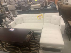 White futon sleeper couch sofa bed faux leather for Sale in Temecula, CA