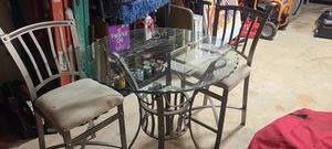 Metal & glass kitchen pub table w/ 2 stools for Sale in Nokesville, VA