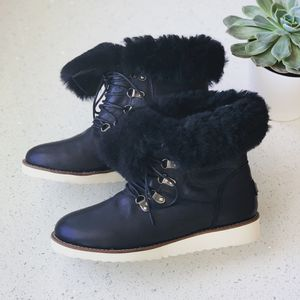 Australia Luxe Collective Black Leather Yael Boots Fur Booties Size 7/7.5 for Sale in Lombard, IL