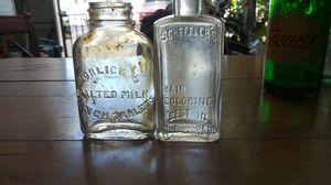 Horlicks malted milk antique bottle along with schefflers antique bottle for Sale in San Jose, CA