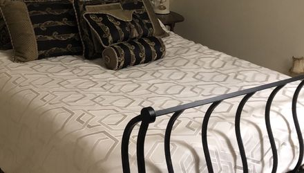 Queen Bed Frame Pillows & Bed Skirt for Sale in Rockville,  MD