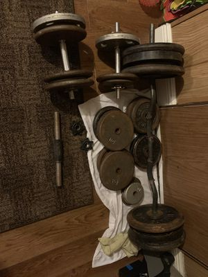 450+ lbs weight, ez curl bar, 4 dumbbells for Sale in Dover, FL