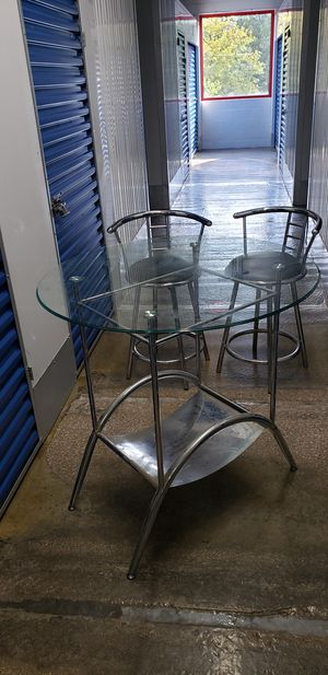 Chrome Counter height Round Glass Top Set for Sale in Washington, DC
