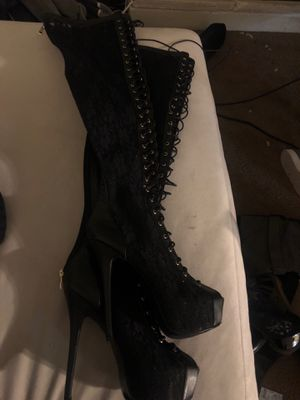 Lace open toe black thigh high boots for Sale in San Diego, CA