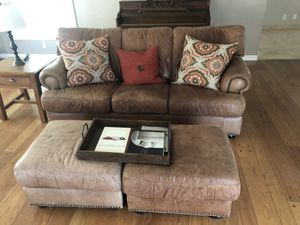 Real leather sofa, ottoman and chair set for Sale in Sacramento, CA