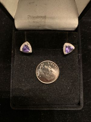 Earrings, 14K Gold with Amethyst and Diamonds. for Sale in Upper Marlboro, MD