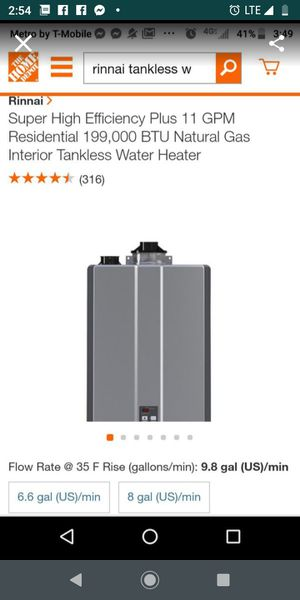 Super High Efficiency Plus 11 GPM Residential 199,000 BTU Natural Gas Interior Tankless Water Heater for Sale in Hayward, CA