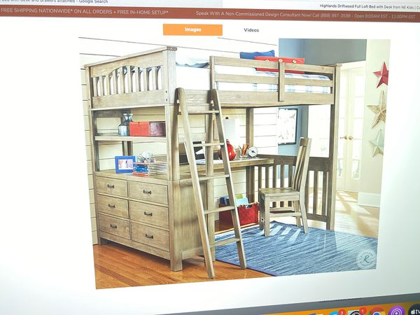 Highlands Drift Wood Full Loft Bed With Desk For Sale In