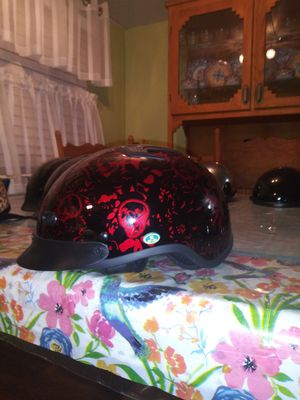 Dot half motorcycle helmet red burgundy skull boneyard size medium for Sale in Phoenix, AZ