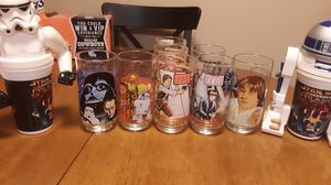 Burger king collectable STAR WARS coca cola glasses and 2 cup attachments for Sale in Lewisville, TX