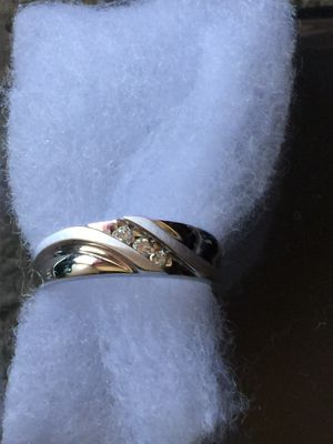 10k White Gold 6mm Natural .09ctw Diamond Mens Wedding Band Ring for Sale in Santa Ana, CA