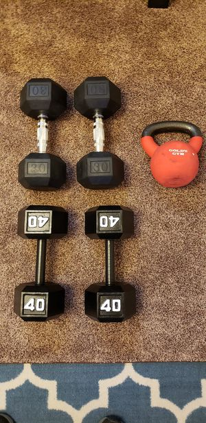 Dumbells and kettlebell for Sale in Riverview, FL
