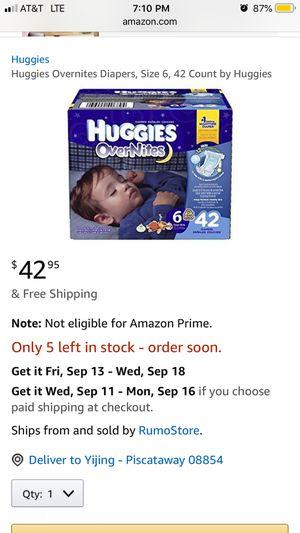 Huggie overnites size 6 for Sale in Piscataway, NJ