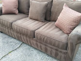 Free Delivery - Clean & Sterilized - Brown Micro-suede Couch With Pillows for Sale in Alpharetta,  GA