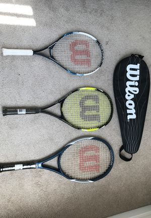 3 Wilson Tennis rackets 1 Slightly used the other 2 Have not been used.The Wilson bag is for sale as well for Sale in Germantown, MD