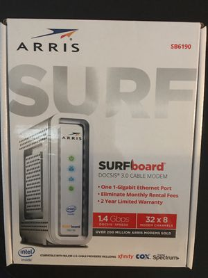 ARRIS SURFboard SB6190 DOCSIS 3.0 Cable Modem, 1.4 Gbps , Approved for Cox, Spectrum, Xfinity & others (White) for Sale in Greenbelt, MD