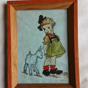 An Antique Hand Colored Folk Art Postcard By Artist Fole for Sale in Tacoma, WA
