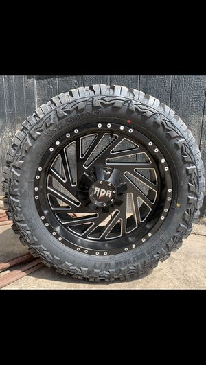 "New 20"" RDR Off Road Rims and 33x12.50r20 Tires Black 20x12 Wheels 6 Lug Universal Bolt pattern will Fit Ford F150 , Chevy Silverado, GMC Sierra , To for Sale in Dallas, TX"