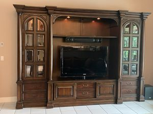 Large wall unit - solid cherry wood - exc. cond. for Sale in Miramar, FL