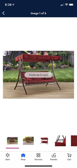 Mainstays Callimont Park 3-Seat Canopy Porch Swing Bed, Red for Sale in Anaheim, CA