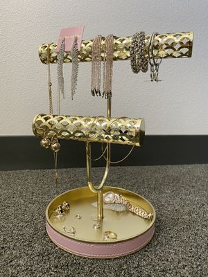 Pink leather gold jewelry holder organizer for Sale in San Diego, CA