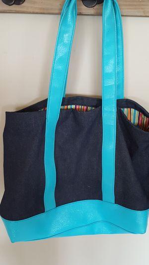 Denim and aqua tote bag for Sale in Southgate, MI