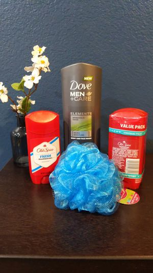 Bundle: 1 Dove men body and face wash, 2 Old Spice Deodorant ,1 Old Spice Deodorant and body sponge (blue) for Sale in Lindsay, CA