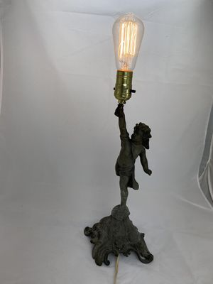 Vintage Electrified Metal Cherub Lamp for Sale in Matthews, NC