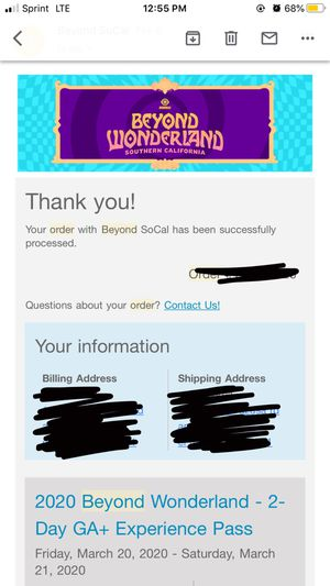 Beyond wonderland tickets for Sale in Rowland Heights, CA